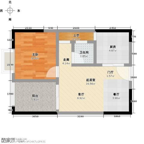 卓越东部蔚蓝海岸1室0厅1卫1厨46.00㎡户型图