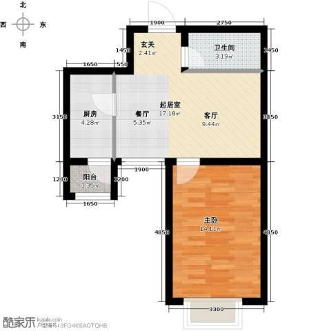 新梅江雅境新枫尚1室0厅1卫1厨61.00㎡户型图