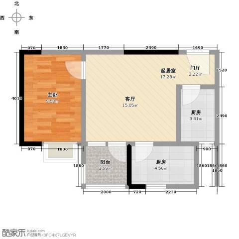 卓越东部蔚蓝海岸1室0厅0卫2厨43.00㎡户型图