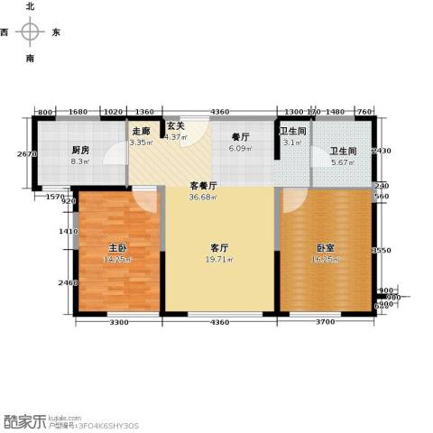 金地檀溪1室1厅1卫1厨89.00㎡户型图