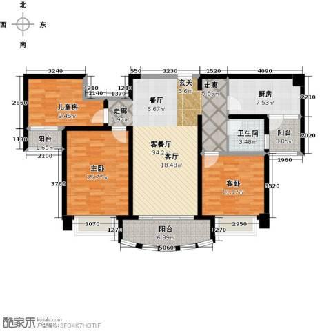 广州碧桂园城市花园3室1厅1卫1厨106.00㎡户型图
