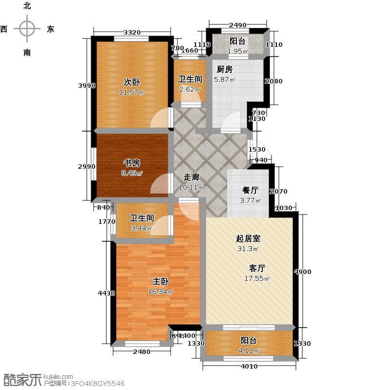 廊坊孔雀城公园海户型3室2卫1厨
