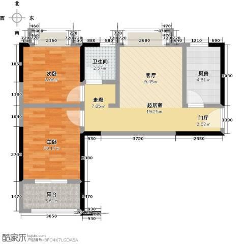 卓越东部蔚蓝海岸2室0厅1卫1厨56.00㎡户型图