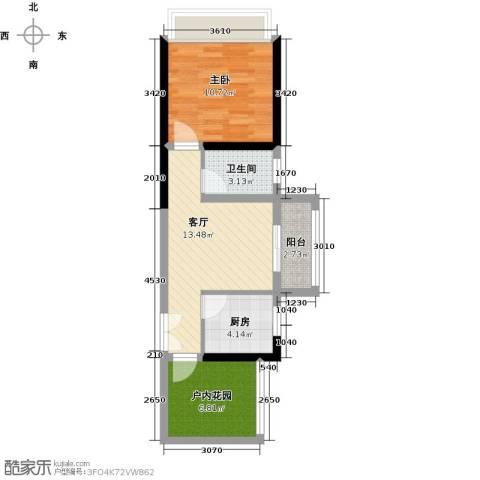 鑫月城1室1厅1卫1厨54.00㎡户型图