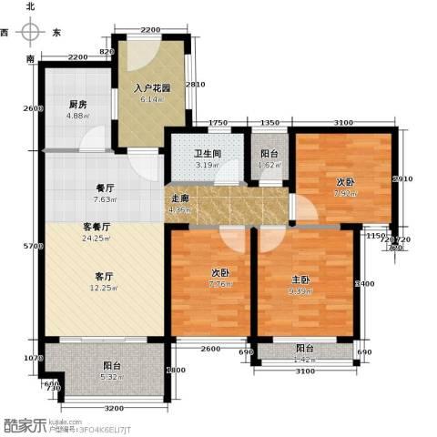光明大第3室1厅1卫1厨80.00㎡户型图