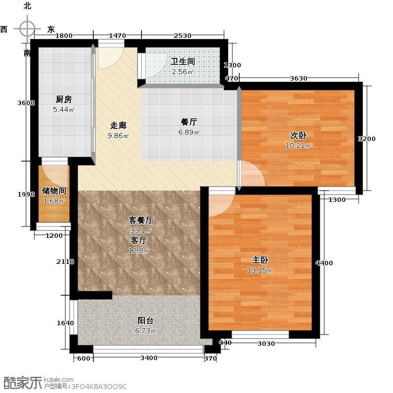 鸿坤・理想城K10售罄户型2室1厅1卫1厨