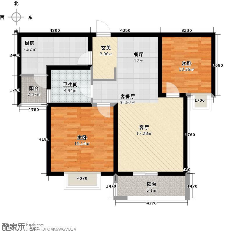 艺泰安邦面积约9189户型2室1厅1卫1厨