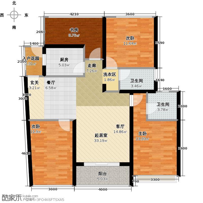 幸福海四房两厅两卫户型