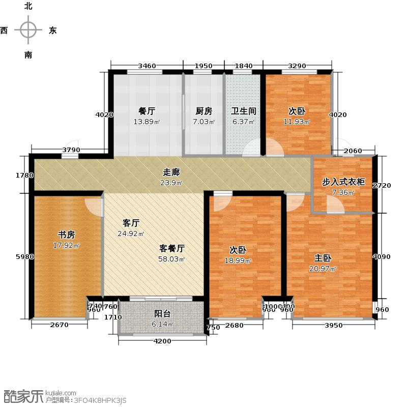 鸿坤・理想城D4户型4室1厅1卫1厨