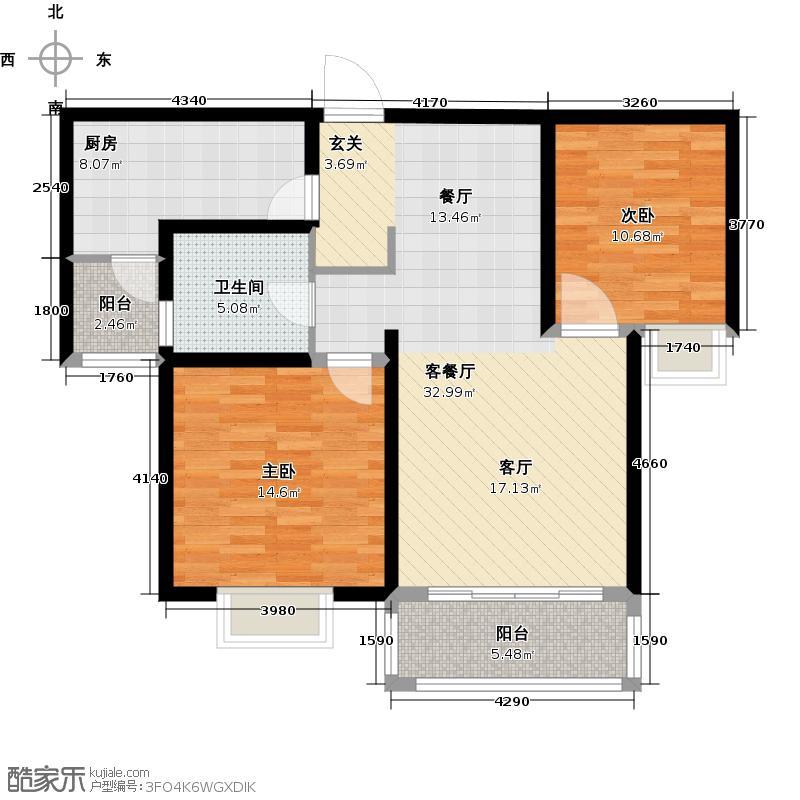 艺泰安邦户型2室1厅1卫1厨