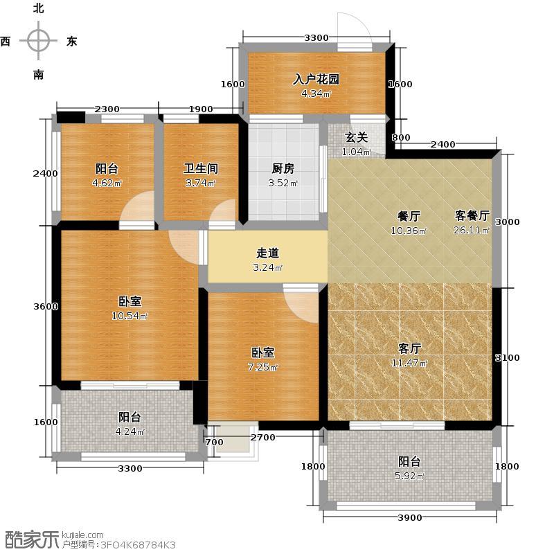 鑫河国际花园一期1栋标准层B-b2户型1厅1卫1厨