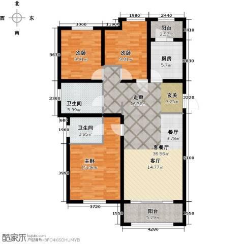 喜蜜湾3室1厅2卫1厨137.00㎡户型图