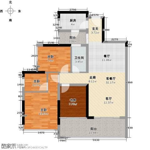 金地湖山大境4室1厅1卫1厨103.00㎡户型图