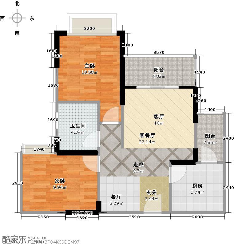 东原香郡B2户型2室1厅1卫1厨