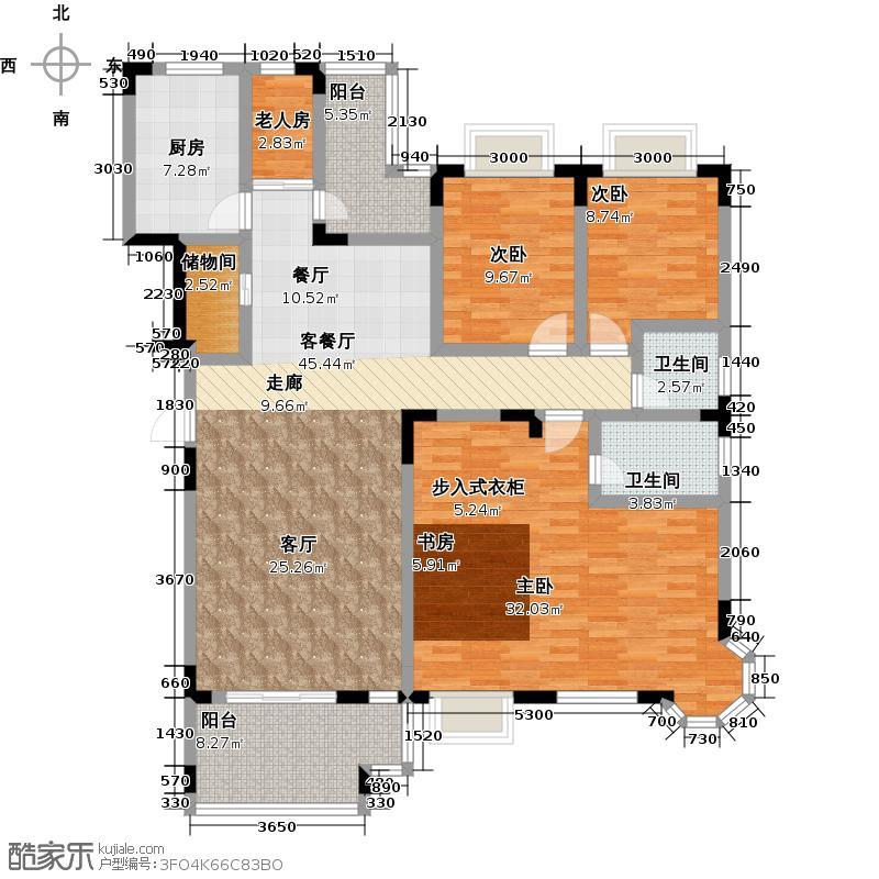 麓山翰林苑A2户型4室1厅2卫1厨