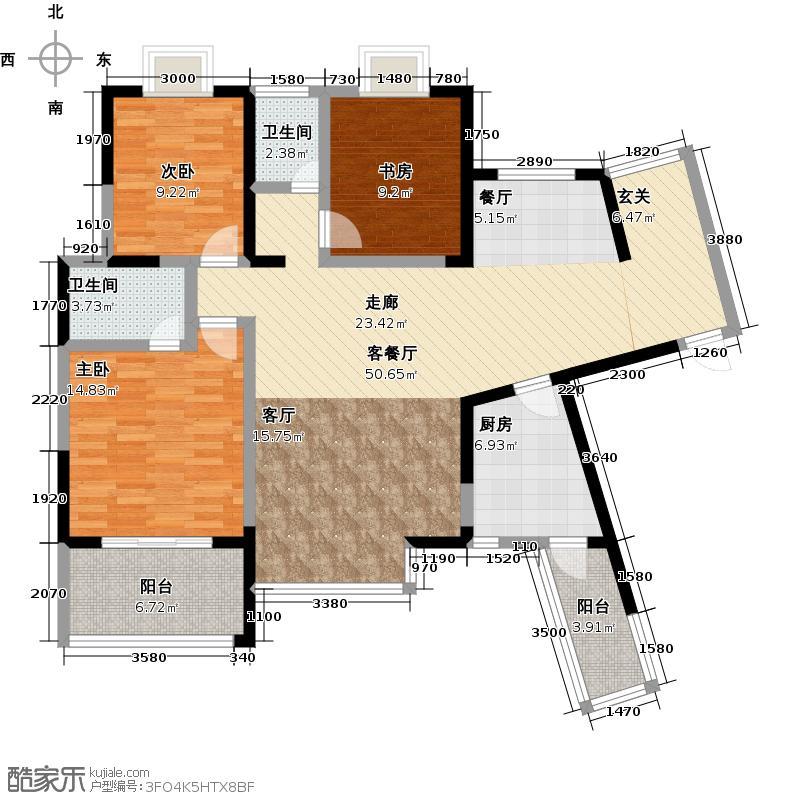 新兴北京御园F-户型3室1厅2卫1厨