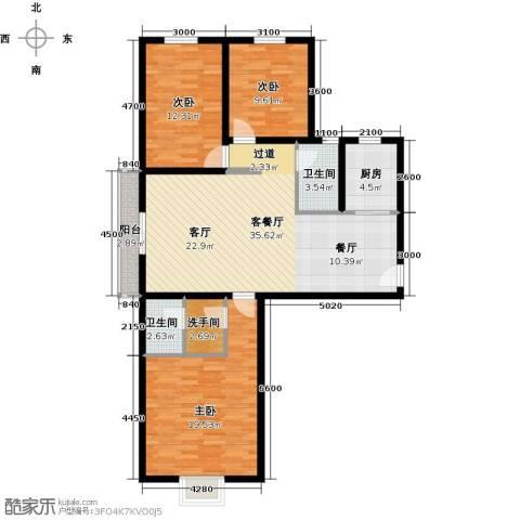 珠峰国际花园三期3室1厅2卫1厨134.00㎡户型图