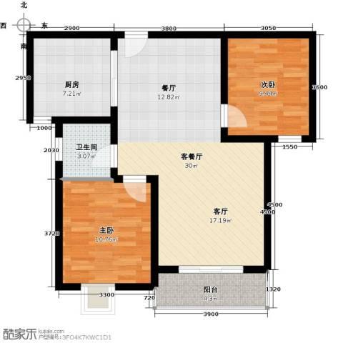 珠峰国际花园三期2室1厅1卫1厨91.00㎡户型图