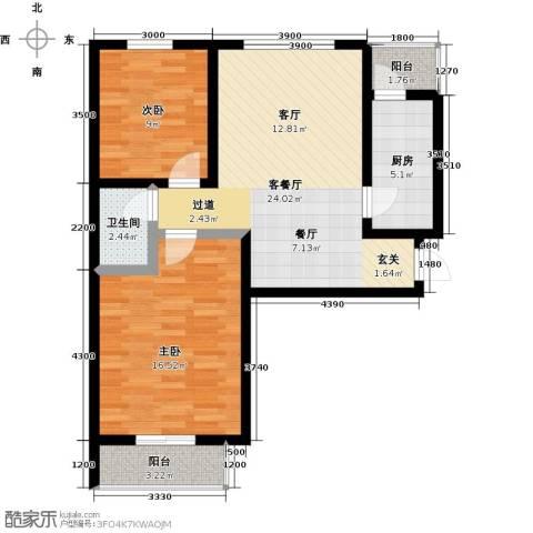 珠峰国际花园三期2室1厅1卫1厨88.00㎡户型图