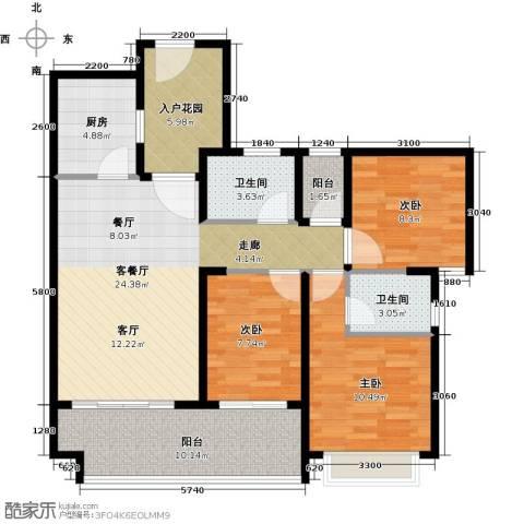 光明大第3室1厅2卫1厨87.00㎡户型图