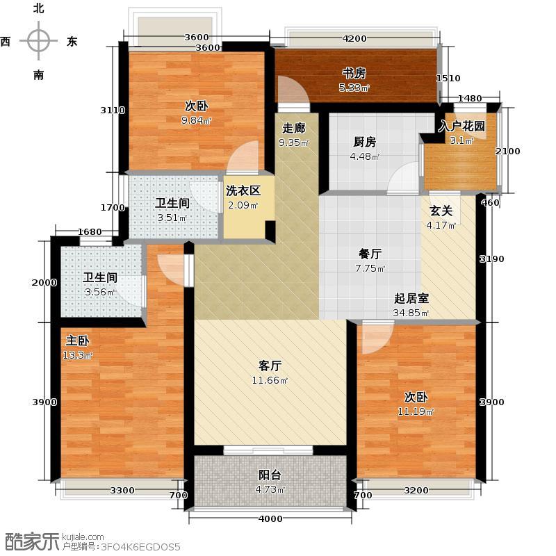 幸福海123.66㎡三房两厅两卫 变 四房两厅两卫户型