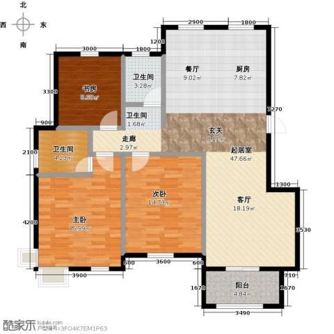 盐城恒隆花园3室0厅2卫0厨138.00㎡户型图