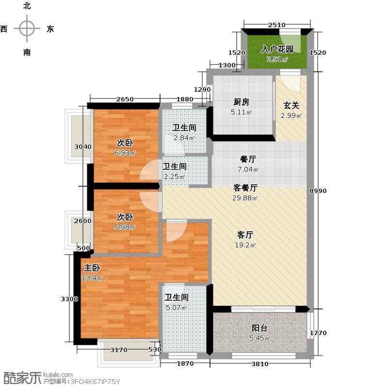 万科欧泊95.00㎡A6-A7栋01、02户型 三房两厅两卫户型3室2厅2卫