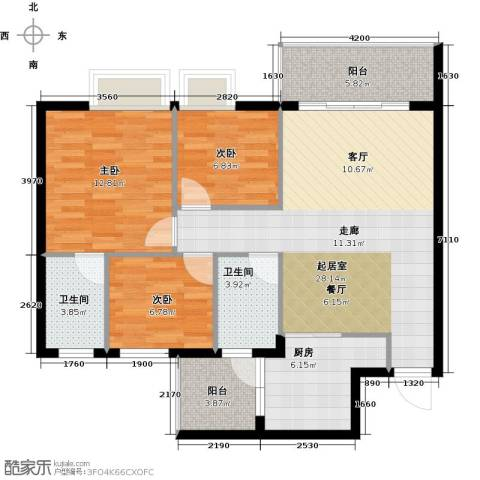 友田碧云轩3室0厅2卫1厨93.00㎡户型图