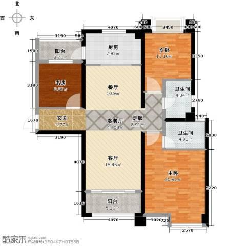 广州碧桂园城市花园3室1厅2卫1厨133.00㎡户型图