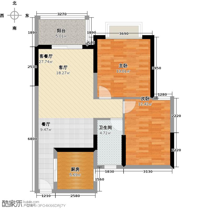 万科欧泊78.00㎡欧泊组团B01-B04栋二房户型2室2厅1卫