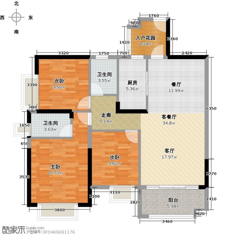 广州保利公园九里121.73㎡E3-B栋标准层02户型3室2厅2卫