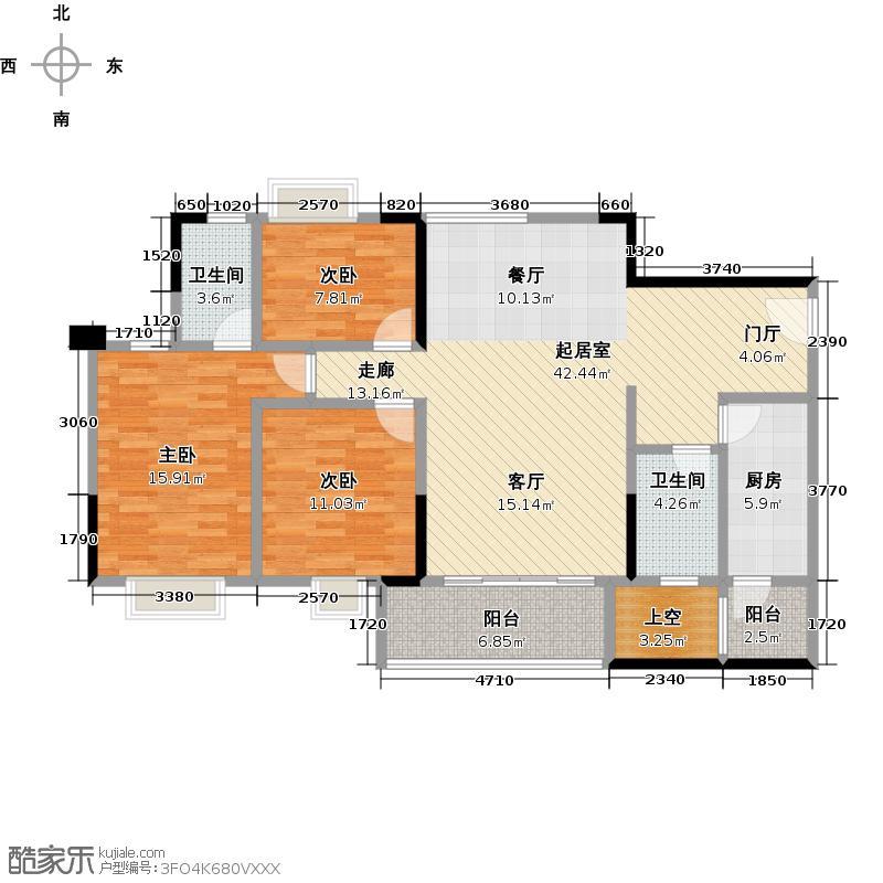 广州时代倾城116.00㎡2栋--03号房(06镜像)户型3室2厅2卫