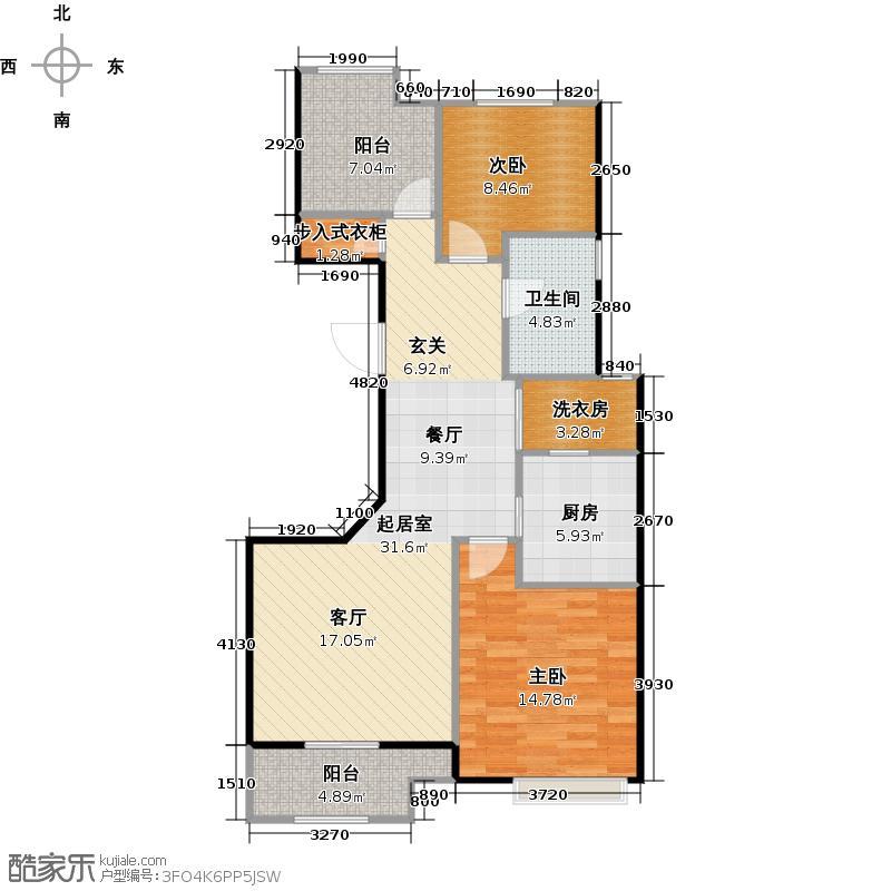 香逸湾公寓户型2室1卫1厨
