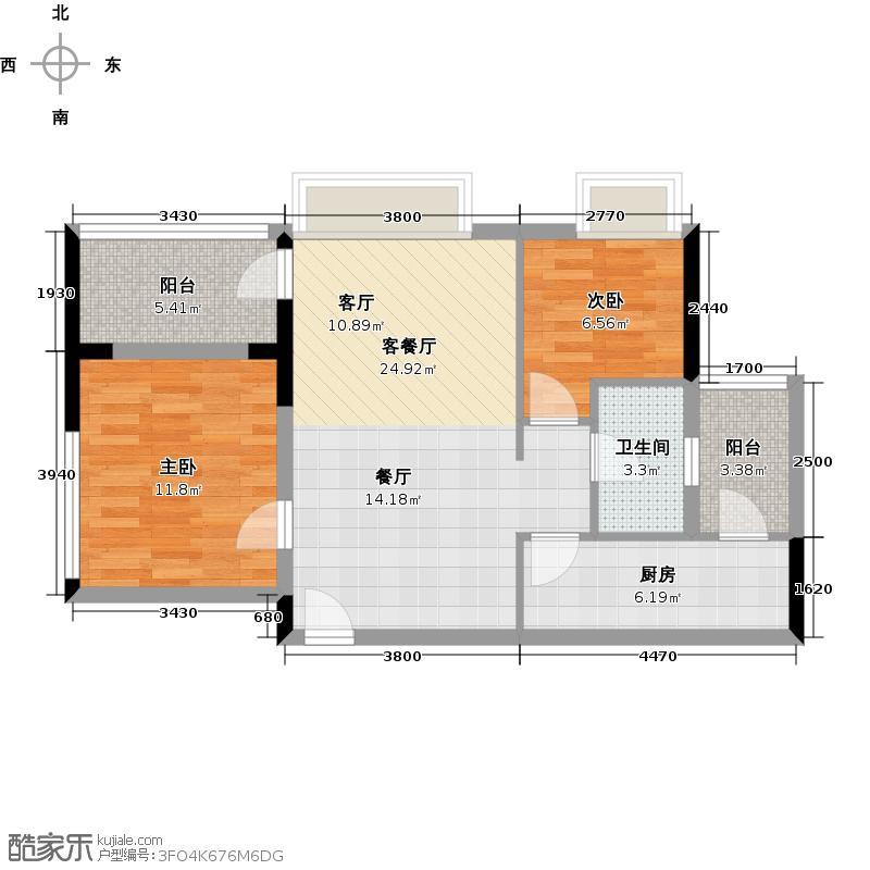 越秀・星汇文瀚81.00㎡5栋标准层02单元户型2室2厅1卫