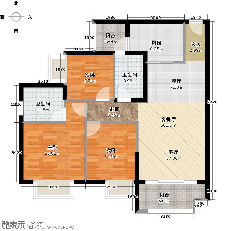 广州保利公园九里109.70㎡D5栋标准层03户型3室2厅2卫