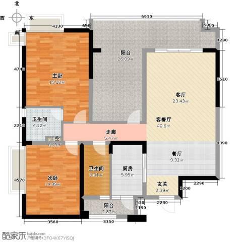 碧桂园凤凰城2室1厅2卫1厨135.00㎡户型图