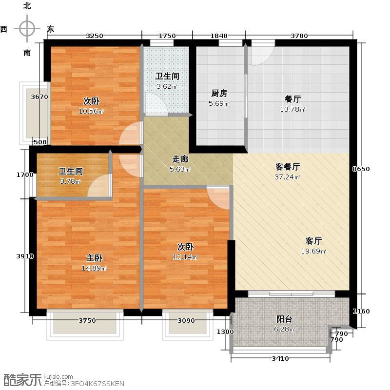 广州保利公园九里124.00㎡D8栋B梯标准层02户型3室2厅2卫