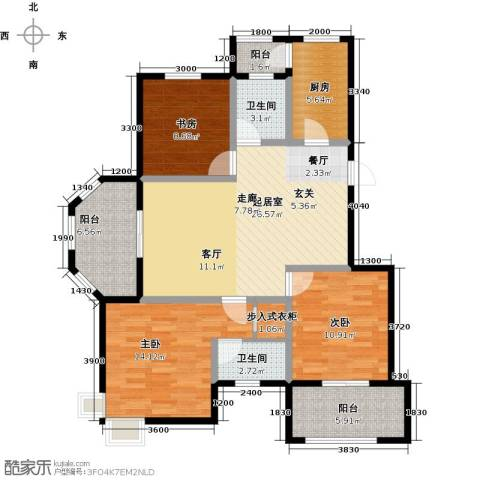 盐城恒隆花园3室0厅2卫1厨124.00㎡户型图