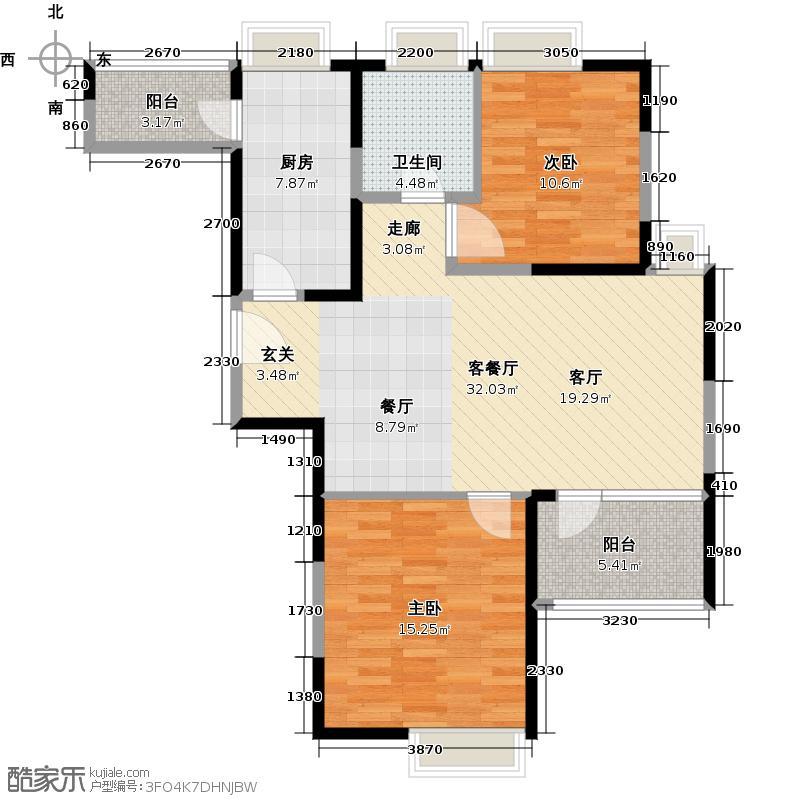 印象欧洲一期莱茵春天中单元012室户型2室1厅1卫1厨