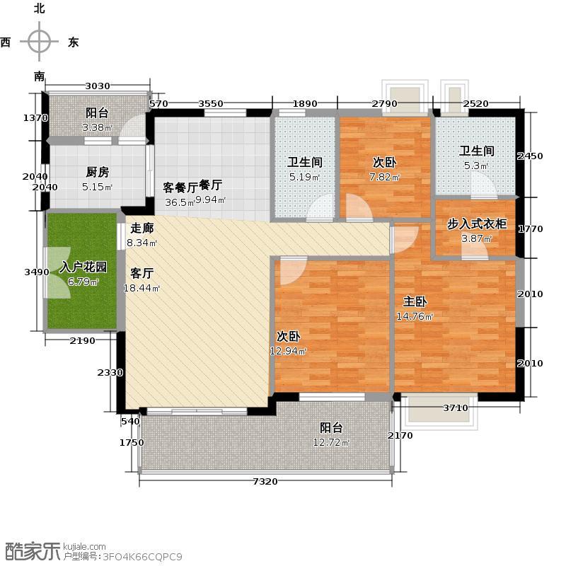 越秀・星汇文瀚3栋标准层04单元户型3室2厅2卫