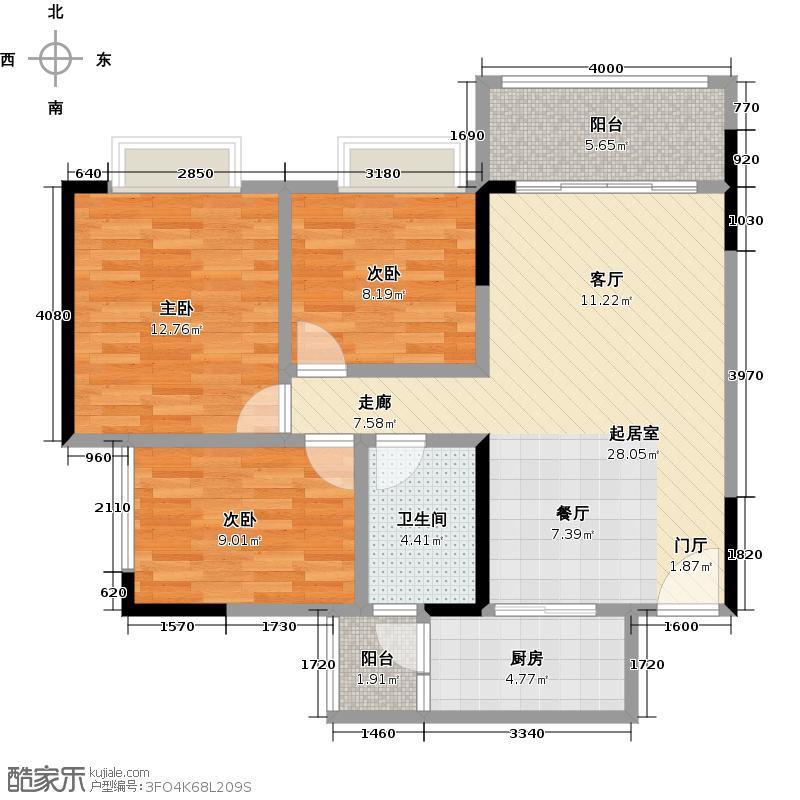 广州时代倾城86.00㎡1栋/5栋标准层03房户型3室2厅1卫