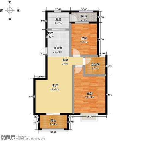 盐城恒隆花园2室0厅1卫1厨98.00㎡户型图
