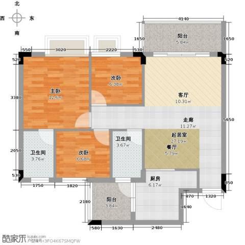友田碧云轩3室0厅2卫1厨91.00㎡户型图