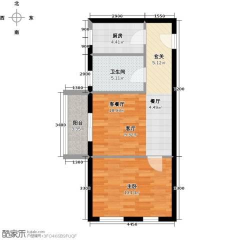 顶�广场1室1厅1卫1厨66.00㎡户型图