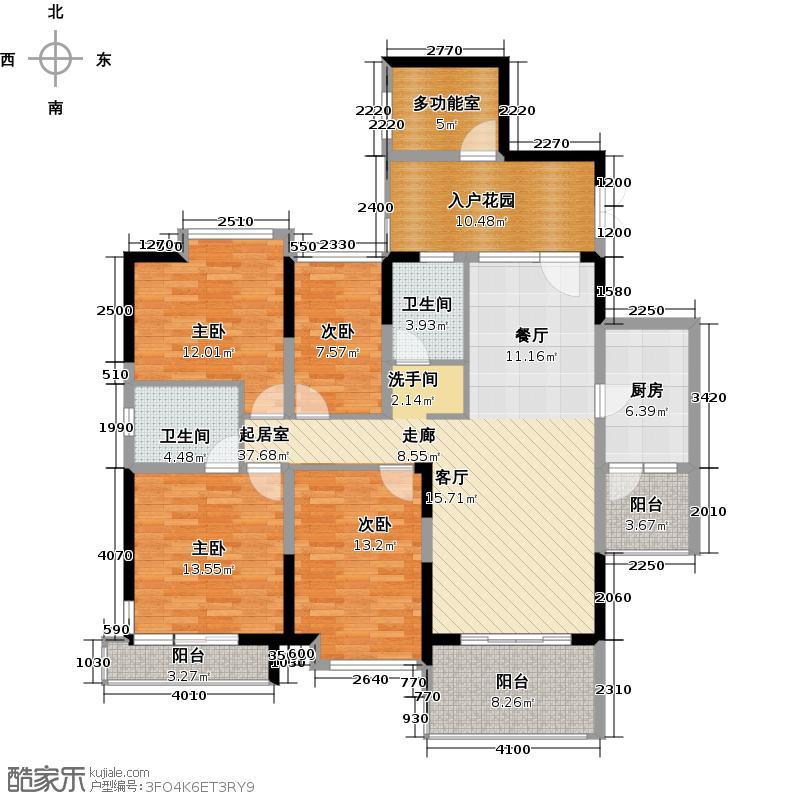 深房传麒山145.00㎡4D型4+1房2厅2卫户型5室2厅2卫