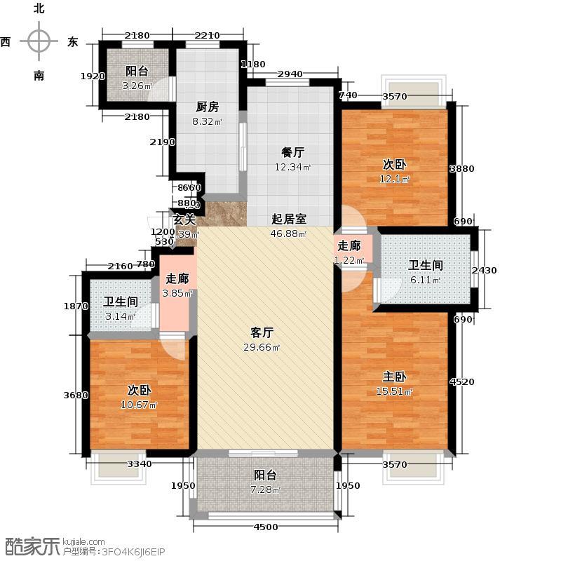 唐樾六和坊155.00㎡8号楼D户型三室两厅两卫户型3室2厅2卫