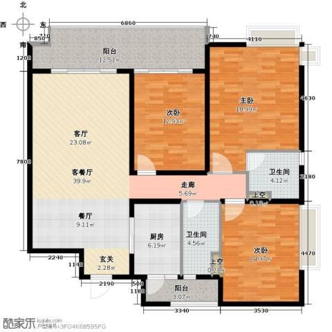 碧桂园凤凰城3室1厅2卫1厨142.00㎡户型图