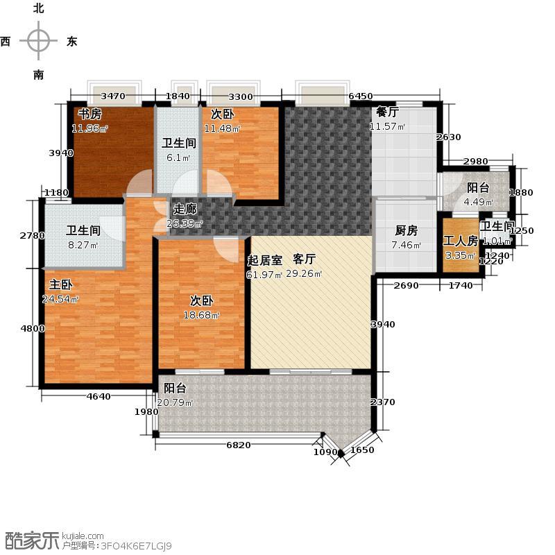汇景新城E2街区B3栋D2栋03户型4室3卫1厨
