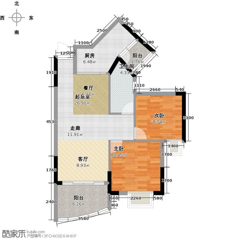 广晟海韵兰庭C1栋01-户型2室1卫1厨