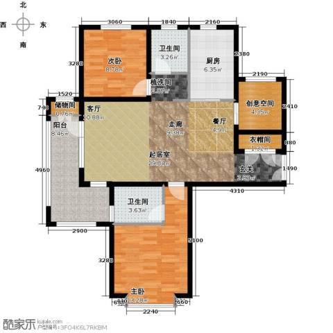 中铁秦皇半岛2室0厅2卫1厨107.00㎡户型图